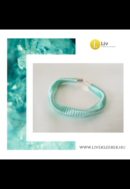 Türkizzöld, ezüst színű, egyedi, kézműves, designer, hullám karkötő - Liv Ékszerek, ékszer