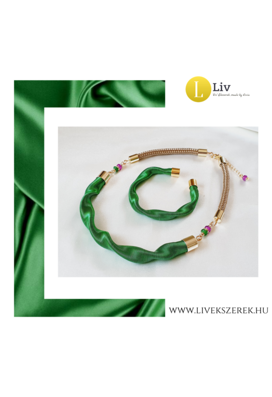 Smaragdzöld, egyedi, kézműves, designer hullám nyaklánc, karkötő - Liv Ékszerek, ékszer