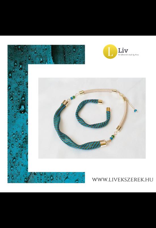 Kék, zöld színű, egyedi, kézműves, páva, hullám nyaklánc,  és/vagy karkötő - Liv Ékszerek