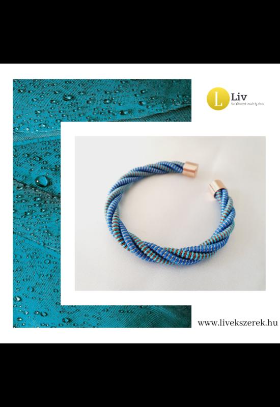 Kék, türkiz, rosegold színű, egyedi, kézműves, designer, csavart karkötő - Liv Ékszerek, ékszer