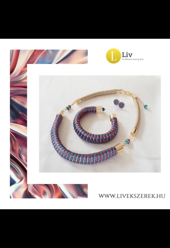 Égszínkék, rózsaszín, barna, egyedi mintás, kézműves karkötő és/vagy nyaklánc - Liv Ékszerek, ékszer
