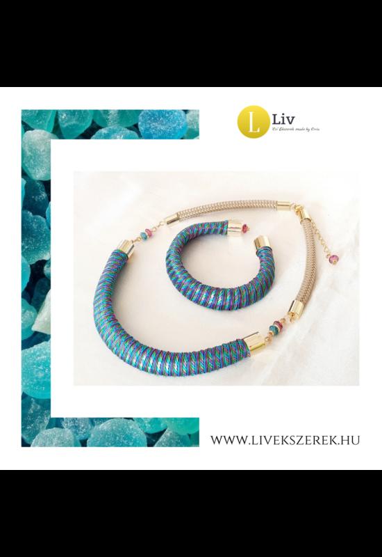 Kék, zöld, lila színű egyedi mintás, kézműves designer nyaklánc, és/vagykarkötő - Liv Ékszerek,  ékszer