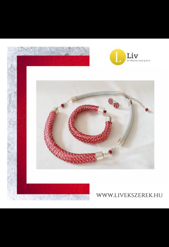 Piros, ezüst színű, egyedi mintás, kézműves designer nyaklánc és/vagy karkötő- Liv Ékszerek, ékszer